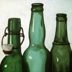 Green Bottles realistic still life oil painting